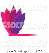 September 6th, 2015: Vector Clipart of a Purple and Pink Floral Logo Design Element by Pams Clipart