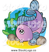 Vector Clipart of a Purple Freshwater Fish and Plants by Visekart