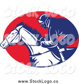Vector Clipart of a Racing Jockey and Horse Logo by Patrimonio