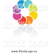 Vector Clipart of a Rainbow Circle and Reflection Logo by Elena