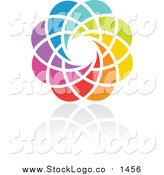 Vector Clipart of a Rainbow Flower Circle Logo by Elena