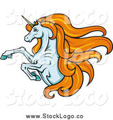 Vector Clipart of a Rearing Orange Haired White Unicorn Fantasy Logo by Vector Tradition SM