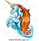 Vector Clipart of a Rearing Unicorn Logo by Vector Tradition SM