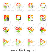 Vector Clipart of a Red, Orange Green and Black Puzzle and Arrow Logos with Reflections by Elena