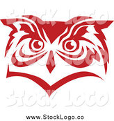Vector Clipart of a Red Owl Face Logo by Vector Tradition SM