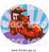 Vector Clipart of a Red Road Roller Machine and Rays Logo by Patrimonio