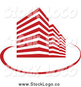 Vector Clipart of a Red Skyscraper and Swoosh Logo by Vector Tradition SM