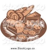 Vector Clipart of a Retro Brown Bakery Goods Logo by Patrimonio
