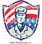 Vector Clipart of a Retro Male American Soldier on an American Flag Shield Logo by Patrimonio