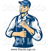 Vector Clipart of a Retro Male Carpenter with a Chisel and Hammer Logo by Patrimonio