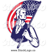Vector Clipart of a Retro Patriotic Man with an American Flag Logo by Patrimonio