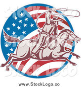 Vector Clipart of a Retro Woodcut American Cowboy Swinging a Lasso and American Flag Logo by Patrimonio