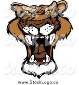 Vector Clipart of a Roaring Cougar Head Logo by Chromaco