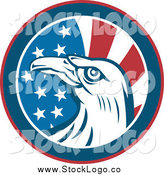 June 2nd, 2014: Vector Clipart of a Round American Eagle and Flag Circle Logo by Patrimonio