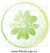 Vector Clipart of a Round Green Flower Logo by Michaeltravers