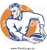 Vector Clipart of a Rugby Football Player Against an Orange Circle Logo by Patrimonio