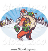 Vector Clipart of a Santa Carrying Gifts and a Sack Outside a Village at Night Christmas Logo by Patrimonio