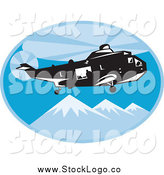 Vector Clipart of a Search and Rescue Helicopter Above Mountains Logo by Patrimonio