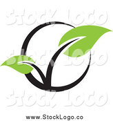 Vector Clipart of a Seedling Plant and Black Circle Logo by Elena