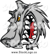 Vector Clipart of a Snarling Angry Wolf Logo by Chromaco