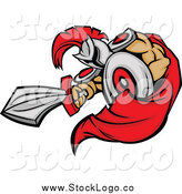 Vector Clipart of a Stabbing Spartan with a Sword Logo by Chromaco