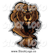 Vector Clipart of a Stalking or Walking Bear Logo by Chromaco