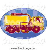 Vector Clipart of a Street Cleaner Machine on a Blue Ray Oval Logo by Patrimonio