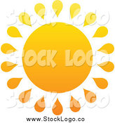 Vector Clipart of a Summer Sun with Droplet Rays by Elena