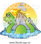 Vector Clipart of a Swimming Brontosaurus Dinosaur Logo by Visekart