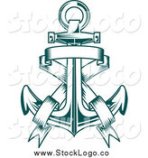 Vector Clipart of a Teal Anchor and Banner Logo by Vector Tradition SM