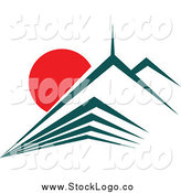 Vector Clipart of a Teal Skyscraper and Red Sunset Logo by Vector Tradition SM