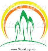Vector Clipart of a Three Trees at Sunset Logo by Vector Tradition SM