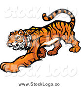 Vector Clipart of a Tiger Stalking Logo by Chromaco