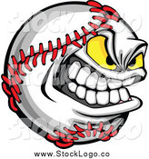 Vector Clipart of a Tough Aggressive Baseball Character Logo by Chromaco