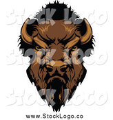 Vector Clipart of a Tough Buffalo Head Logo by Chromaco