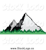 Vector Clipart of a Two Mountains and Tree Tops Logo by Vector Tradition SM