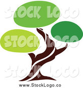 Vector Clipart of a Unique Green Tree Logo by Elena