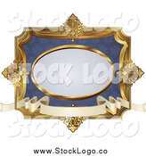 Vector Clipart of a Vintage Blue and Gold Frame with Copyspace by AtStockIllustration