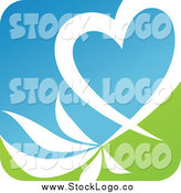 February 5th, 2014: Vector Clipart of a White Heart and Leaves over Green and Blue Logo by Elena