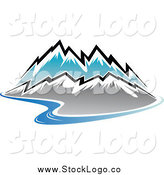 Vector Clipart of a Winding River and Snow Capped Mountain Range Logo by Vector Tradition SM