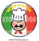 Vector Clipart of a Winking Chef over a Welcome Italian Flag Circle by Hit Toon