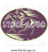 Vector Clipart of a Woodcut Purple and Beige Horse Racing Logo by Patrimonio