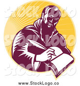 Vector Clipart of a Woodcut St Jerome Writing in a Book over Rays by Patrimonio