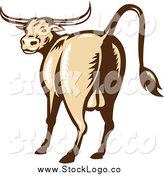 Vector Clipart of a Woodcut Texas Longhorn Bull Logo by Patrimonio