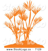 Vector Clipart of an Orange Silhouetted Palm Tree Logo by Vector Tradition SM