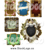 Vector Clipart of Antique Ornate Frame Logos by AtStockIllustration