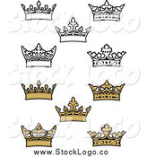 Vector Clipart of Black and White and Gold Crown Logos by Vector Tradition SM