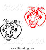 Vector Clipart of Black and White and Red Tiger Head Logos by Vector Tradition SM