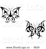 Vector Clipart of Black and White Butterfly Logos by Vector Tradition SM