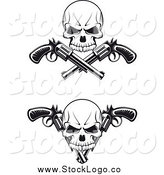 Vector Clipart of Black and White Skulls and Crossed Revolvers Logos by Vector Tradition SM
